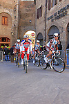 Riders make their way to sign on before the start of the 2015 Strade Bianche Eroica Pro cycle race 200km over the white gravel roads from San Gimignano to Siena, Tuscany, Italy. 7th March 2015<br /> Photo: Eoin Clarke www.newsfile.ie