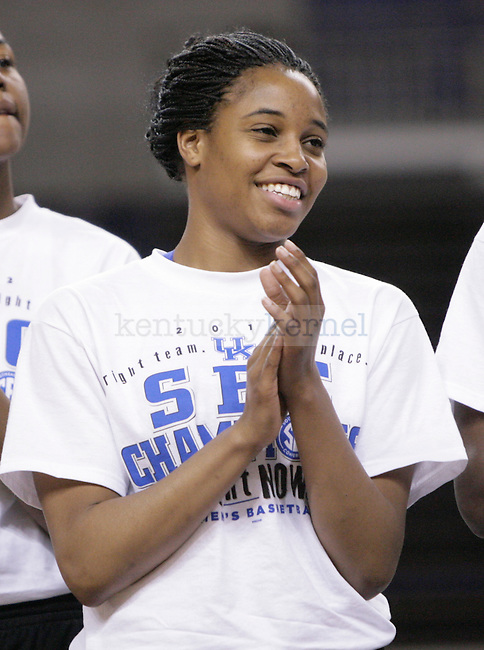 UK Freshman Bria Goss during the Kentucky Women's celebration of winning the SEC regular season championship 2/26/12 at Memorial Coliseum in Lexington, Ky. Photo by Quianna Lige | Staff