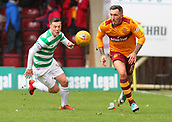 18th March 2018, Fir Park, Motherwell, Scotland; Scottish Premiership football, Motherwell versus Celtic;  Celtic's Callum McGregor closes down the run from Ryan Bowman