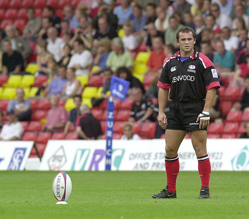 Photo:Ken Brown.20.8.2000 Saracens v Gloucester.Thomas Castaignede