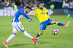 Ruben Perez of Club Deportivo Leganes competes for the ball with Jeronimo Figueroa Momo of UD Las Palmas during the match of La Liga between Deportivo Leganes and Union Deportiva Las Palmas  Butarque Stadium  in Madrid, Spain. April 25, 2017. (ALTERPHOTOS/Rodrigo Jimenez)