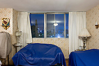 C-511, Lic. Fernando Díaz. The interior livingroom windows of apartments in the Chihuahua building of Tlatelolco. Mario Pani´s Tlatelolco, plaza de las 3 culturas, Mexico DF