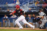 Batavia Muckdogs second baseman Rony Cabrera (26) at bat in front of catcher Arden Pabst (52) during a game against the West Virginia Black Bears on June 28, 2016 at Dwyer Stadium in Batavia, New York.  Batavia defeated West Virginia 3-1.  (Mike Janes/Four Seam Images)