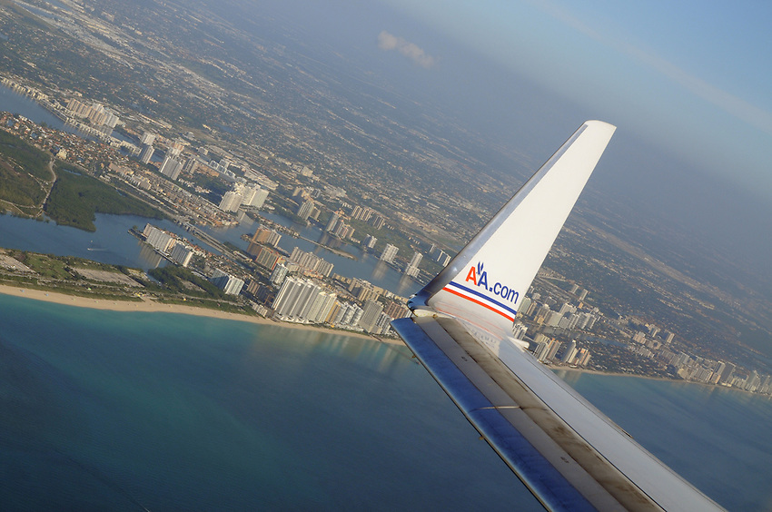 An aerial view of the Miami skyline, seen from the vantage point of an American Airlines Boeing 737 passenger jet