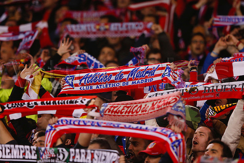 13.04.2016. Madrid, Spain.  At. Madrid fans. UCL Champions League between Atletico de Madrid and FC Barcelona at the Vicente Calderon stadium in Madrid, Spain, April 13, 2016 .