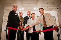 Posing for photos before a crowd of art lovers during a ribbon-cutting ceremoney to launch the 'Cuba on My Mind' exhibit featuring over 30 peices of Cuban art on display at The von Liebig Art Center, from left: PNC Managing Executive, Robert Saltarelli; Cuban Artist, Eduardo Miguel Abela Torras; Joel Kessler, Executive Director for the Naples Art Center at The von Liebig Art Center;  Dr. Carol Damian, Co-curator, art historian for the Patricia and Philip Frost Art Museum at Florida International University; and Jack O'Brien, Curator, The von Liebig Art Center, Naples, Florida, USA, March 10, 2011. 'Cuba on My Mind' will be on display beginning March 12 through April 30. Photo by Debi Pittman Wilkey