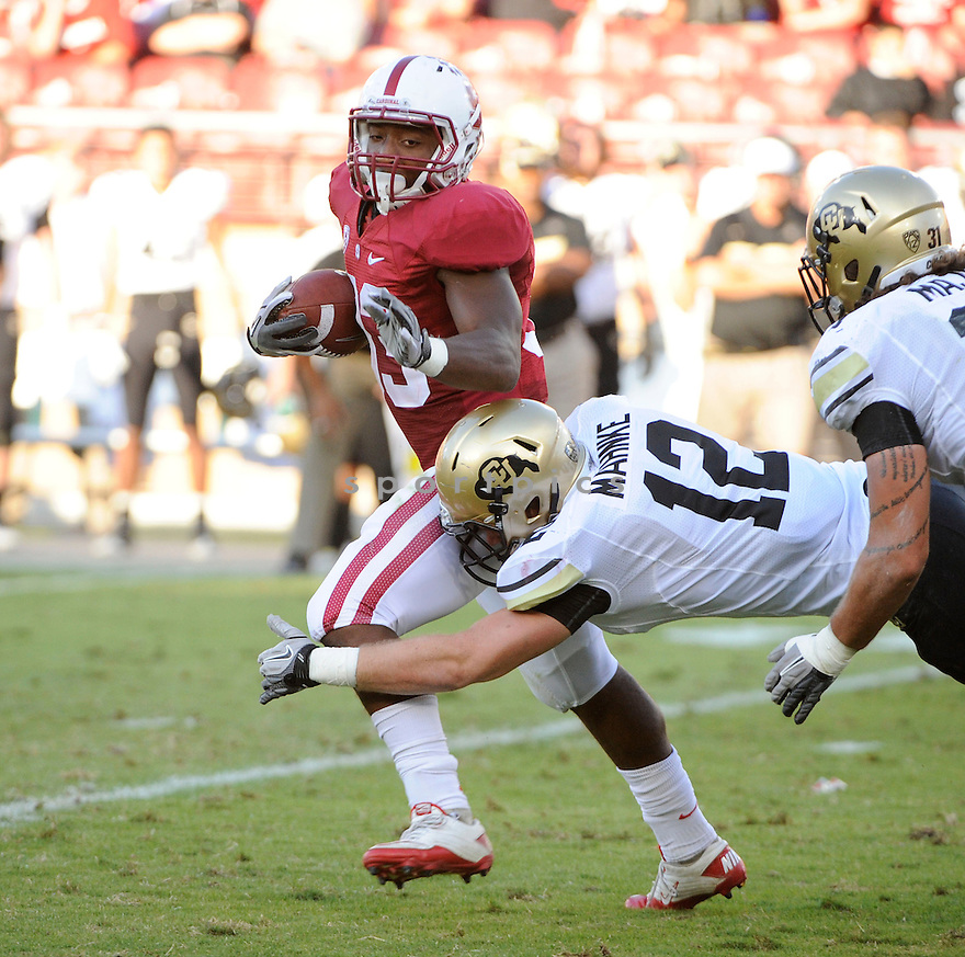 STEPFAN TAYLOR, of the Stanford Cardinal, in action during Stanford's game against the Colorado Buffaloes on October 8, 2011 at Stanford Stadium in Stanford, CA. Stanford beat Colorado 48-7.