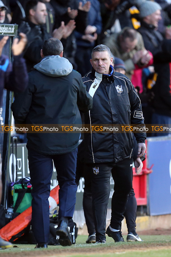 Cambridge United manager Colin Calderwood and Port Vale Manager John Askey after Cambridge United vs Port Vale, Sky Bet EFL League 2 Football at the Cambs Glass Stadium on 9th February 2019
