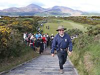 Thursday 28 May 2015; Wayne Rilley walks onto the 14th tee box<br /> <br /> Dubai Duty Free Irish Open Golf Championship 2015, Round 1 County Down Golf Club, Co. Down. Picture credit: John Dickson / SPORTSFILE