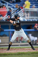 West Virginia Black Bears center fielder Jared Oliva (43) at bat during a game against the Batavia Muckdogs on June 26, 2017 at Dwyer Stadium in Batavia, New York.  Batavia defeated West Virginia 1-0 in ten innings.  (Mike Janes/Four Seam Images)