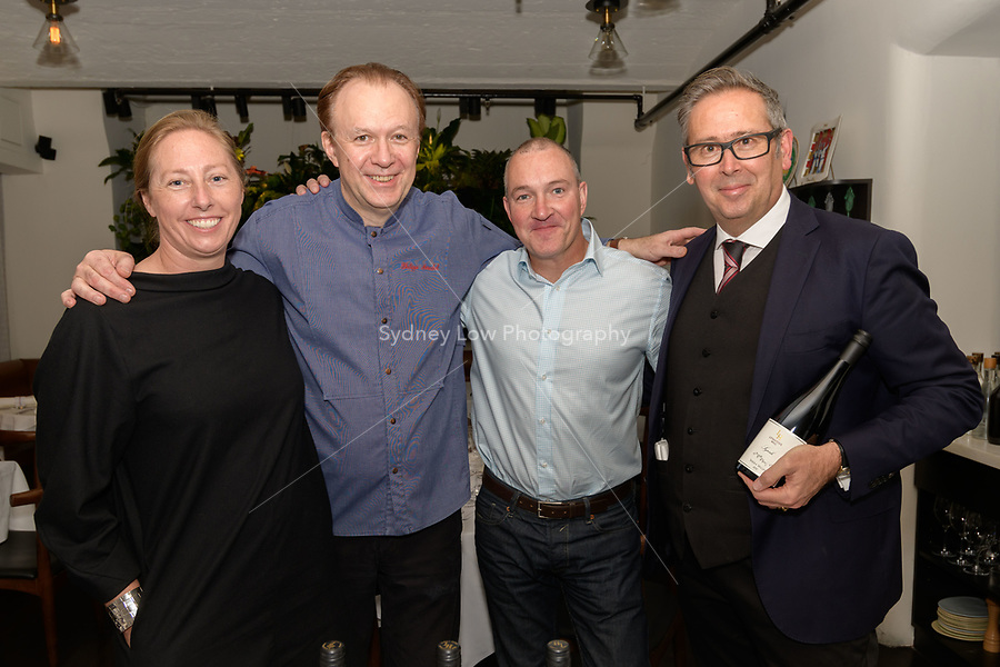 Melbourne, 20 April, 2018 - Philippe Mouchel with Paul Bridgeman the winemaker Levantine Hill and restaurant manager Tim Sawyer  at a dinner at Philippe Restaurant in Melbourne. Photo Sydney Low