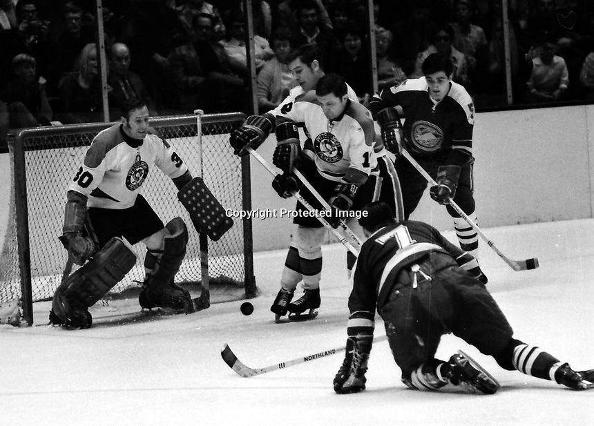 California Golden Seals vs Pittsburg Penguins 1970 Play-Off game. Seals Carol Vadnais trying to score,  against goalie Les Binkley.  (photo/Ron Riesterer)