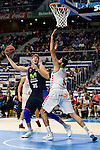 Movistar Estudiantes's Fran Guerra (I) and Laboral Kutxa's Ioannis Bourousis during Liga Endesa ACB at Barclays Center in Madrid, October 11, 2015.<br /> (ALTERPHOTOS/BorjaB.Hojas)