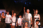 "Curtain Call - Colleen Zenk ""Anticleia"" - Dan Sheridan ""Zeus"" - Christian Leadley ""Prince Odysseus"" - Benjamin Slater ""Young Telemachus"" - Eddie Korbich ""Posidon"" - Emma Zaks ""Athena"" - Janine DiVita ""Penelope"" - Josh A. Davis ""Odyssues"" - Dress Rehearsal of Odyssey - The Epic Musical starring Colleen Zenk, Edddie Korbich, Josh A. Davis, Emma Zaks and Janine DiVita and cast on October 21, 2011 at the American Theatre of Actors, New York City, New York. (Photo by Sue Coflin/Max Photos)"
