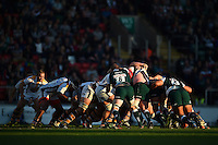A general view of a scrum. Aviva Premiership match, between Leicester Tigers and Wasps on November 1, 2015 at Welford Road in Leicester, England. Photo by: Patrick Khachfe / Onside Images