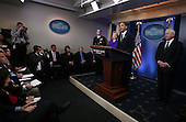 "United States President Barack Obama briefs the media on Friday, March 26, 2010 following his phone call with President Dmitry Medvedev of Russia in which the two leaders agreed to sign the ""New START Treaty"" in Prague, Czech Republic on April 8, 2010. Joining the president in the White House Brady Press Briefing Room are U.S. Secretary of State Hillary Rodham Clinton, Chairman of the Joint Chiefs of Staff Admiral Mike Mullen (far left), and U.S. Secretary of Defense Robert Gates..Credit: Martin H. Simon - Pool via CNP"