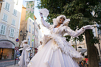 Street performers in the historic centre of Grasse, during the Jasmine Festival, France