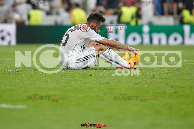 Real Madrid´s Daniel Carvajal regrets the defeat after the Champions League semi final soccer match between Real Madrid and Juventus at Santiago Bernabeu stadium in Madrid, Spain. May 13, 2015. (ALTERPHOTOS/Victor Blanco) /NortePhoto.COM