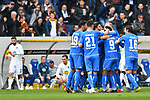 14.04.2019, PreZero Dual Arena, Sinsheim, GER, 1. FBL, TSG 1899 Hoffenheim vs. Hertha BSC Berlin, <br /> <br /> DFL REGULATIONS PROHIBIT ANY USE OF PHOTOGRAPHS AS IMAGE SEQUENCES AND/OR QUASI-VIDEO.<br /> <br /> im Bild: Jubel ueber das Tor zum 2:0 durch Reiss Nelson (TSG Hoffenheim #9)<br /> <br /> Foto © nordphoto / Fabisch