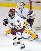 Tim Kunes, Joe Pearce - The Boston College Eagles and Ferris State Bulldogs tied at 3 in the opening game of the Denver Cup on Friday, December 30, 2005, at Magness Arena in Denver, Colorado.  Boston College won the shootout to determine which team would advance to the Final.