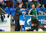 St Johnstone v Rosenborg....25.07.13  Europa League Qualifier<br /> Nigel Hasselbaink gets a well done hug form gaffer Tommy Wright after being subbed<br /> Picture by Graeme Hart.<br /> Copyright Perthshire Picture Agency<br /> Tel: 01738 623350  Mobile: 07990 594431