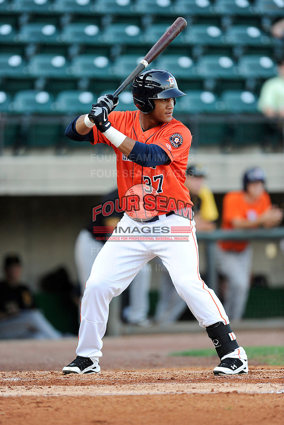 Third baseman Cesar Carrasco (37) of the Greeneville Astros bats in a game against the Bristol Pirates on Friday, July 25, 2014, at Pioneer Park in Greeneville, Tennessee. Greeneville won, 9-4. (Tom Priddy/Four Seam Images)