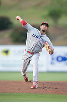 Lakewood BlueClaws starting pitcher Chris Oliver (10) in action against the Kannapolis Intimidators at CMC-Northeast Stadium on May 16, 2015 in Kannapolis, North Carolina.  The BlueClaws defeated the Intimidators 9-7.  (Brian Westerholt/Four Seam Images)