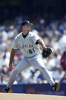 Josh Beckett of the Florida Marlins pitches during a 2002 MLB season game against the Los Angeles Dodgers at Dodger Stadium, in Los Angeles, California. (Larry Goren/Four Seam Images)
