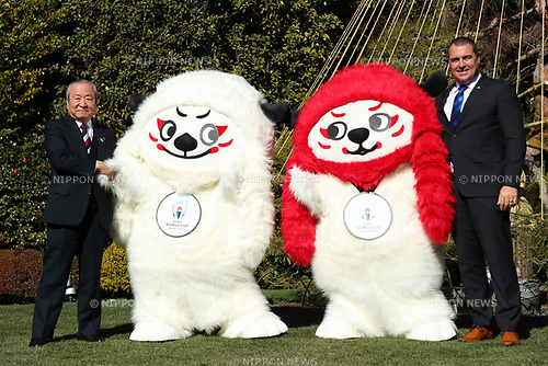 (L to R) <br /> Akira Shimazu, <br /> Ren-G, <br />   Rob Abernethy, <br /> JANUARY 26, 2018 - Rugby : <br /> Rugby World Cup organizers announce <br /> the official mascot for the 2019 Rugby World Cup <br /> in Tokyo, Japan. <br /> (Photo by YUTAKA/AFLO)