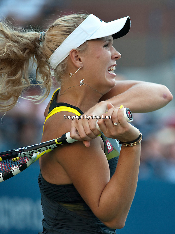 Sept. 6, 2010.Caroline Wozniacki of Denmark, in action, defeating Maria Sharapova of Russia in the fourth round of the US Open, played at the Billie Jean King Tennis Center, Flushing Meadow, NY