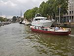 Tour boat in Wijnhaven, Wine harbour, Dordrecht, Netherlands