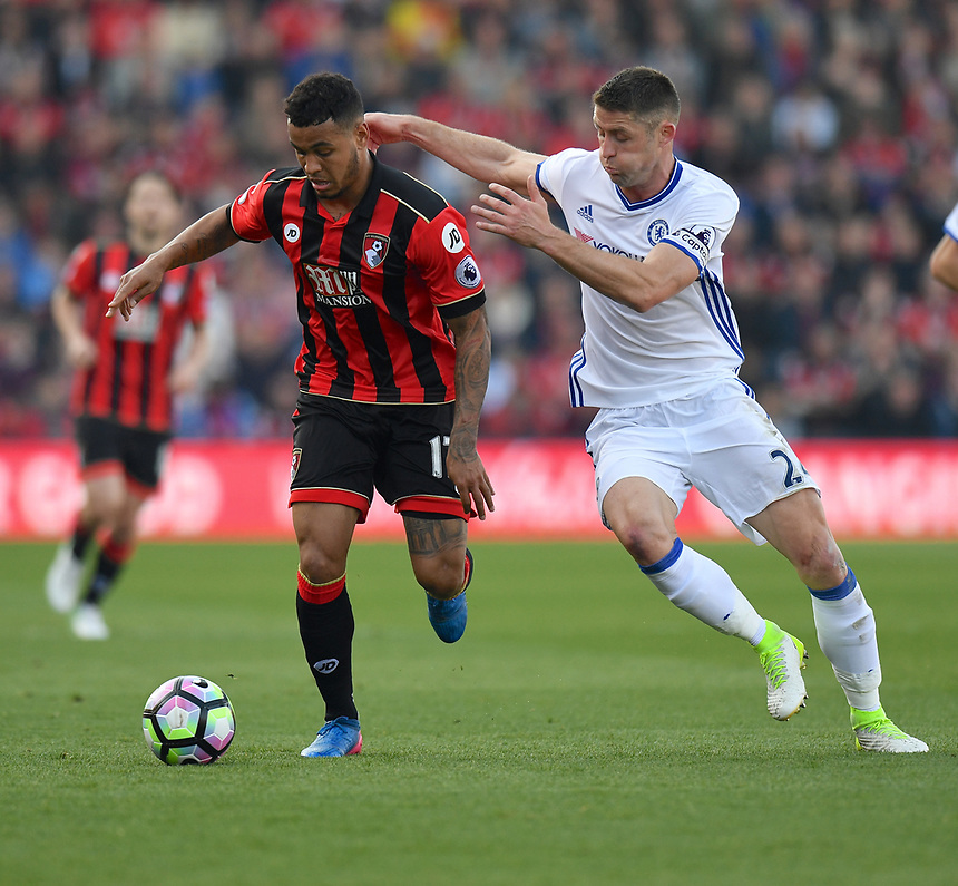 Chelsea's Gary Cahill (R) vies for possession with Bournemouth's Joshua King (R)<br /> <br /> Bournemouth 1 - Chelsea 3<br /> <br /> Photographer David Horton/CameraSport<br /> <br /> The Premier League - Bournemouth v Chelsea - Saturday 8th April 2017 - Vitality Stadium - Bournemouth<br /> <br /> World Copyright &copy; 2017 CameraSport. All rights reserved. 43 Linden Ave. Countesthorpe. Leicester. England. LE8 5PG - Tel: +44 (0) 116 277 4147 - admin@camerasport.com - www.camerasport.com