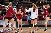 STANFORD, CA - November 3, 2018: Jenna Gray, Morgan Hentz, Kathryn Plummer, Meghan McClure at Maples Pavilion. No. 1 Stanford Cardinal defeated No. 15 Colorado Buffaloes 3-2.