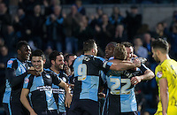 Celebrations following Garry Thompson of Wycombe Wanderers goal during the Sky Bet League 2 match between Wycombe Wanderers and Oxford United at Adams Park, High Wycombe, England on 19 December 2015. Photo by Andy Rowland.