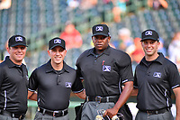 Umpiring crew before (L-R) Brandon Blome, Kelvis Velez, Dexter Kelly and Jude Koury before the South Atlantic League All Star Game at First National Bank Field on June 19, 2018 in Greensboro, North Carolina. The game Southern Division defeated the Northern Division 9-5. (Tony Farlow/Four Seam Images)