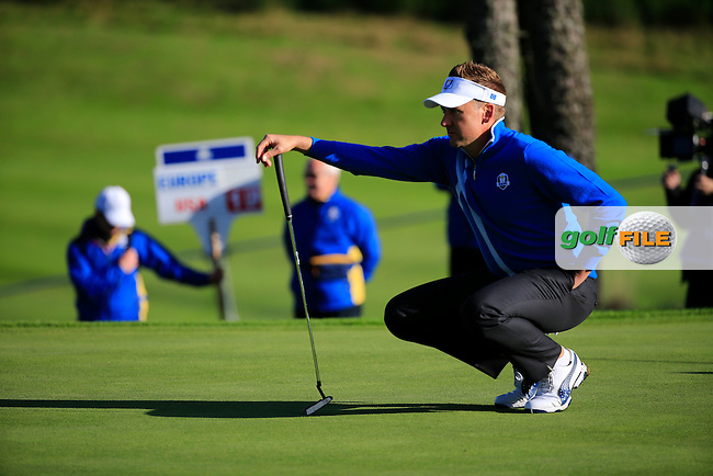 Ian Poulter (EUR) during the Friday Morning fourballs at The 40th Ryder Cup,  PGA Centenary Course at The Gleneagles Hotel, Perthshire, Scotland.<br /> Picture Fran Caffrey, www.golffile.ie