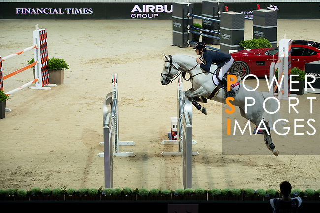 Bertram Allen on Hector van d'Abdijhoeve competes during the Table A with Jump-off 145 - Airbus Trophy at the Longines Masters of Hong Kong on 20 February 2016 at the Asia World Expo in Hong Kong, China. Photo by Li Man Yuen / Power Sport Images