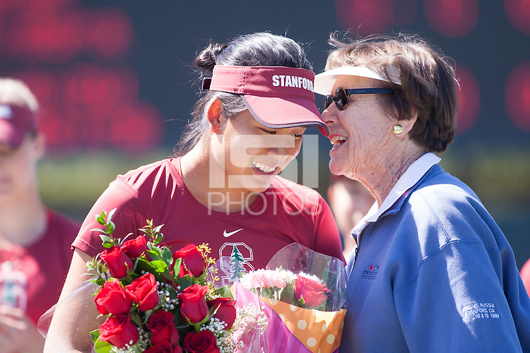 Stanford - April 04, 2015: Ellen Tsay was honored during Senior Day ceremonies before the Stanford vs Washington match Saturday afternoon at Taube Family Tennis Stadium at Stanford.<br /> Stanford won7-0.