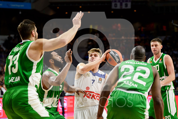 Real Madrid's player Luka Doncic and Unics Kazan's player Marko Basic, Keith Langford, Latavious Williams and Vadim Panin during match of Turkish Airlines Euroleague at Barclaycard Center in Madrid. November 24, Spain. 2016. (ALTERPHOTOS/BorjaB.Hojas)