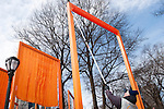 Central Park. New York, New York. United States..February 12th 2005..Opening of the project The Gates by Christo and Jeanne Claude..7503 gates, 16,4 feet high, on 22 miles in Central park, $ 21 millions, 750 employees.