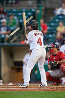 Rochester Red Wings shortstop Sean Miller (4) at bat during a game against the Pawtucket Red Sox on May 19, 2018 at Frontier Field in Rochester, New York.  Rochester defeated Pawtucket 2-1.  (Mike Janes/Four Seam Images)