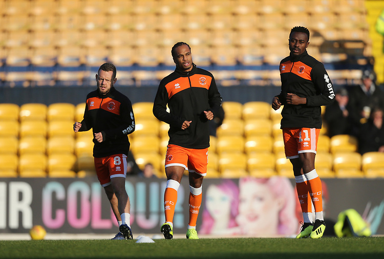 Blackpool players warm-up prior to kick-off<br /> <br /> Photographer Rob Newell/CameraSport<br /> <br /> The EFL Sky Bet League One - Southend United v Blackpool - Saturday 17th November 2018 - Roots Hall - Southend<br /> <br /> World Copyright © 2018 CameraSport. All rights reserved. 43 Linden Ave. Countesthorpe. Leicester. England. LE8 5PG - Tel: +44 (0) 116 277 4147 - admin@camerasport.com - www.camerasport.com