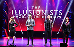 """Chloe Crawford, """"The Sorceress"""", Adam Trent, """"The Futurist"""", Darcy Oake, """"The Grand Illusionist"""" and Shin Lim, """"The Manipulator""""  from the cast of Broadway's """"The Illusionists—Magic of the Holidays"""" on stage for a press preview at the Marquis Theatre  on November 27, 2018 in New York City."""
