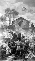 Clark's attack on Fort Sackville, Vincennes. February 1779.  Copy of painting by Ezra Winter, ca. 1933-34.  (Commission of Fine Arts)<br />