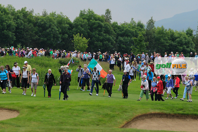 Crowds on the 18th during the Saturday Mourning Foursomes of the 2016 Curtis Cup at Dun Laoghaire Golf Club on Saturday 11th June 2016.<br /> Picture:  Golffile | Thos Caffrey