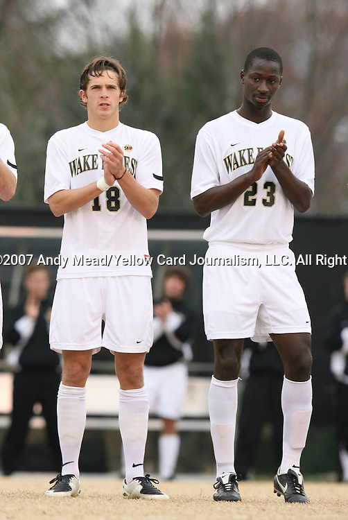 02 December 2007: Wake Forest's Evan Brown (18) and Ike Opara (23). The Wake Forest University Demon Deacons defeated the West Virginia University Mountaineers 3-1 at W. Dennie Spry Soccer Stadium in Winston-Salem, North Carolina in a Third Round NCAA Division I Mens Soccer Tournament game.