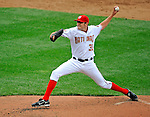 12 April 2008: Washington Nationals' pitcher John Lannan on the mound against the Atlanta Braves at Nationals Park, in Washington, DC. The Braves defeated the Nationals 10-2...Mandatory Photo Credit: Ed Wolfstein Photo