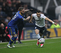 Preston North End's Billy Bodin battles with  Leeds United's Pontus Jansson<br /> <br /> Photographer Mick Walker/CameraSport<br /> <br /> The EFL Sky Bet Championship - Preston North End v Leeds United - Tuesday 10th April 2018 - Deepdale Stadium - Preston<br /> <br /> World Copyright &copy; 2018 CameraSport. All rights reserved. 43 Linden Ave. Countesthorpe. Leicester. England. LE8 5PG - Tel: +44 (0) 116 277 4147 - admin@camerasport.com - www.camerasport.com