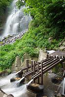 Germany, Thuringia, near Brotterode-Trusetal: Trusetal waterfall, highest of Thuringia Forest, a man-mad attraction, at foreground Trusetal pebble mill | Deutschland, Thueringen, bei Brotterode-Trusetal: der Trusetaler Wasserfall ist der hoechste Wasserfall des Thueringer Waldes und ist eine künstlich angelegte Attraktion, im Vordergrund die Trusetaler Kugelmuehle