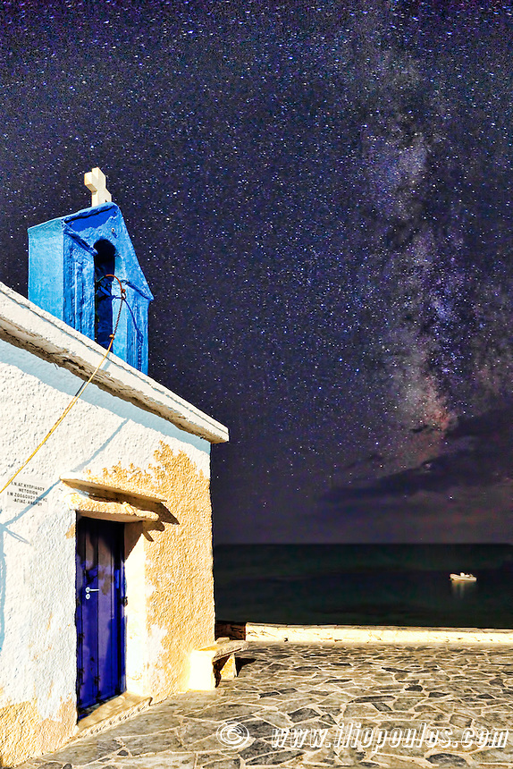 A chapel under the Milky Way in Andros, Greece